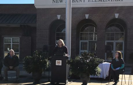 Principal Gwyn Russell welcomes the guests to the groundbreaking and extends a special welcome to students who are watching the ceremony via live streaming.