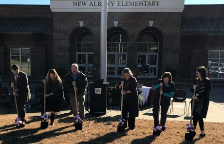 Participating in the official groundbreaking ceremony are l-r: Superintendent Lance Evans, NAES Counselor April Hobson, Mayor Tim Kent, NAES Principal Gwyn Russell, Project Director Tammie Reeder, and NAES Assistant Principal Emily Speck