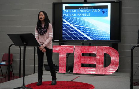 Fifth grade students in the EXCEL program at New Albany Elementary School have been working for several months researching topics and preparing for their TED-style presentations. Students presented their TED Talks on Thursday, January 31 and shared their big ideas, passions, and challenges with the hope of working to initiate change for a better tomorrow. Twenty-one students made presentations on a variety of topics including genetic conditions, pollution, alternative sources of energy, and recycling. Pictured: Candy Ordaz-Solar Energy